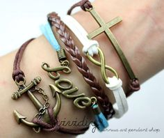 Anchor & Cross braceletInfinity wish Love braceletWax by vividiy, $5.59