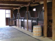 Savannah horse stall by IES barrel for trash can