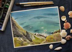Watercolor landscape. Portugal, Cabo do Roca