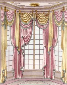 Bay Window Treatments, Window Coverings, Pink Dollhouse, Rideaux Design, Classic Curtains, Drapery Designs, Curtain Styles, European Home Decor, Custom Windows