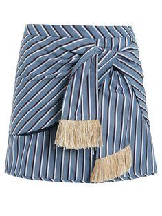 Saia Turquesa, Cris Barros. Saia estampada com sobreposição de tecido, amarração na parte da frente, franjas detalhando a peça.   SKU: 20SA358UM_AZULOFFV Composição: 100% Algodão / Forro: 100% Algodão Cor: Azul off
