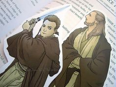 Star Wars bookmarks: Obi-Wan Kenobi & Qui-Gon Jinn. | Geek gift, Star Wars art, illustration, print, Star Wars gift.
