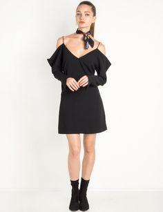 Black Cold Shoulder Dress by Cameo