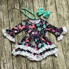 unicorn dress baby girls lace party dress children boutique fall dress with bows and necklace