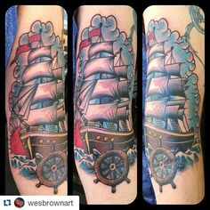 If you aren\'t already tuned in make sure to add @wesbrownart!! I did this fun #traditional #ship #tattoo yesterday. Thanks for looking! #metropolis #metropolistattoo #tattoo #tattoolife #denton #dentontattoos #dentonartist #texasartist #tattoosnob #ink #inked #cooltattoos #radtattoos #superbtattoos #texasinkaholics #lonestarinkmag #texastattooer #texastattoo #dallastattoo #texasinkedmag #support_good_tattooers #thebesttattooartists #tattooartistmagazine #the_inkmasters #tattoo_art_worldwide #dentonslacker Denton Slacker