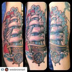 If you aren\'t already tuned in make sure to add @wesbrownart!! I did this fun #traditional #ship #tattoo yesterday. Thanks for looking! #metropolis #metropolistattoo #tattoo #tattoolife #denton #dentontattoos #dentonartist #texasartist #tattoosnob #ink #inked #cooltattoos #radtattoos #superbtattoos #texasinkaholics #lonestarinkmag #texastattooer #texastattoo #dallastattoo #texasinkedmag #support_good_tattooers #thebesttattooartists #tattooartistmagazine #the_inkmasters #tattoo_art_worldwide #dentonslacker Denton Slacker