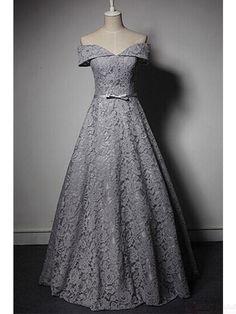 Elegant Off Shoulder Lace Knot Floor Length Prom Dresses Evening Dresses #promdresses #SIMIBridal