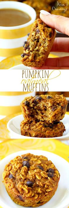 These baked pumpkin oatmeal muffins are simply perfect! These Pumpkin Oatmeal Muffins are the perfect grab-n-go breakfast or snack with our favorite fall flavors! (low-calorie, healthy, non-dairy and gluten-free) Healthy Muffins, Healthy Treats, Healthy Baking, Healthy Recipes, Vegetarian Recipes, Healthy Foods, Pumpkin Recipes, Fall Recipes, Pumpkin Pumpkin