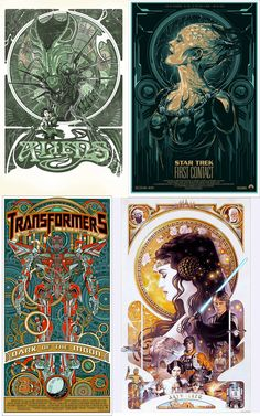 I. Want. This. Art deco sci fi posters - Alien, Star Trek: First Contact, Transformers, and Star Wars.