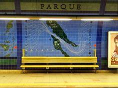 Parque metro station in Lisbon, Portugal Metro Station, Lisbon Portugal, Art World, Travelling, Transportation, Places To Go, Street, Design, Lisbon