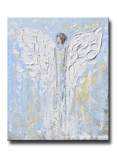 """Angel Beside You"" ORIGINAL #art, abstract, guardian #angel painting depicting heavenly angel watching over & protecting. This hand-painted, figurative piece possesses not only a comforting sense of peace and calm, but with its' soothing shades of blue & textured layers of paint, it also contains a vintage, stylish, organic feel, perfect for any decor. Done in a palette of white, grey, taupe, pale gold, pale blue, mixed media acrylic original sold, avail as prints. -By Artist, Christine…"