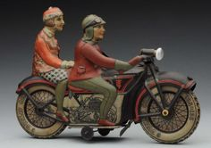 Lot # : 764 - German Tippco Tin Litho Wind - Up Motorcycle Toy.