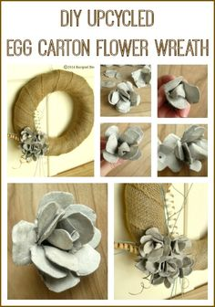 DIY Upcycled Egg Carton Flower Wreath - perfect for repurposing leftover egg cartons But is it worth all that hassle? Wreath Crafts, Diy Wreath, Flower Crafts, Diy Flowers, Paper Flowers, Burlap Wreath, Egg Carton Crafts, Egg Crafts, Easter Crafts