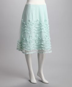 Take a look at this Mint Frayed Chiffon Skirt by Blissful & Breezy: Women's Apparel on #zulily today!