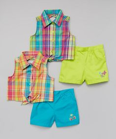 Look at this #zulilyfind! Blue & Green Plaid Top & Shorts Set - Infant & Girls by Penny M #zulilyfinds