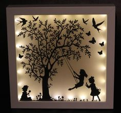 Picture Frame – illuminated picture frame, family, gift, – a unique product by Lillifeeee-Steffi on DaWanda - Papercut Art, Shadow Box Kunst, Diy Shadow Box, Shadow Box Frames, 3d Paper Art, Diy And Crafts, Paper Crafts, Marianne Design, Frame Crafts