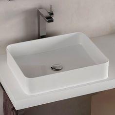 Vasque à poser rectangulaire 50x40 cm céramique extra fine, Delicate
