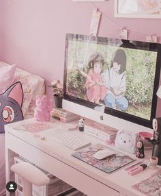 Cute Room Ideas, Cute Room Decor, Pastel Room, Pink Room, Room Ideas Bedroom, Bedroom Themes, Ideas Decorar Habitacion, Pink Games, Kawaii Bedroom