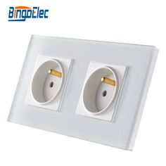 EU standard white glass 16A double french power socket wall socket