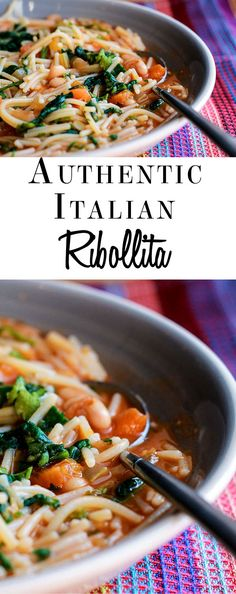 This recipe for Ribollita from Erren's Kitchen is a delicious Italian soup. Very similar to pasta fagioli, it's a cross between a soup and a pasta dish.