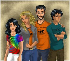 Annabeth Chase and Percy Jackson with their kids... A Percabeth family !!!