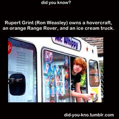I'd probably buy an ice cream truck, too #hp #humor rupert grint