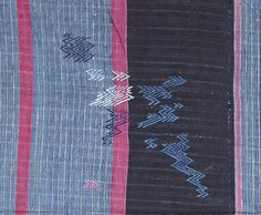 Detail: NW514: Indigo cotton and pink silk woman's cloth, Yoruba, Nigeria, circa 1900, with unique zigzag embroidery. Private collection, UK. More information at http://adireafricantextiles.blogspot.co.uk/2014/09/lightning-strikesa-unique-embroidered.html