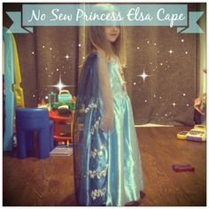 When everywhere sold out of the Elsa from Frozen costume, I set about making a cape that would go with the dress we could find. But it had to be no sew and cheap!