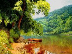 MICHAEL JAMES SMITH - Beira de rio com barcos  Óleo sobre tela OBRAS DE CADA DIA: Novembro 2012