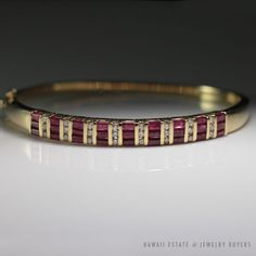 see more #vintagejewelry on our website (link in bio) #VINTAGE NATURAL #RUBY DIAMOND HINGED BANGLE BRACELET 14K YELLOW GOLD NR JEWELRY #Bangle