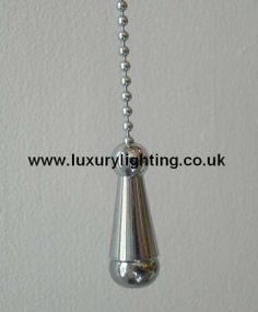 Decorative Polished Chrome Finish Pull Chain Suitable For Use On Ceiling Pull-Cord Switches. Available from Luxury Lighting Bathroom Mirror Lights, Bathroom Ceiling Light, Mirror With Lights, Ceiling Lights, Pull Cord Light Switch, Light Pull, Ceiling Fan Pull Chain, Ceiling Fan Pulls, Luxury Lighting