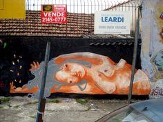 """chá de cadeira"" Street art in Sao Paulo, Brazil, by Mag Magrela."