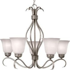 Illumine, 5-Light Satin Nickle Chandelier with Ice Glass Shade, HD-MA40821490 at The Home Depot - Mobile