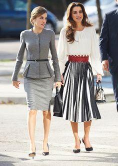 ♔♛Queen Rania of Jordan♔♛.. November 20, 2015...Queen Rania and Queen Letizia visit a Molecular Biology Centre