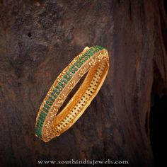 Gold Plated Bangles with Green Stones, One Gram Gold Bangles with Green Stones, Imitation Bangles with Green Stones.