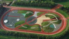 Athletic Track Athletics Exploratorium in Odense, Denmark Landscape Architecture, Landscape Design, Parkour, Sport Park, Sports Complex, Football Stadiums, Urban Planning, Track And Field, Urban Design