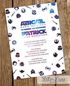 Star Wars mariage Invitation thème Galaxy - Télécharger imprimable - invitation mariage personnalisé - 5 x 7