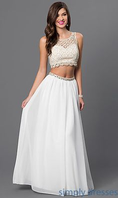 Shop Sequin Hearts two piece long formal gowns at SimplyDresses. Floor length ivory/champagne white lace crop top prom dresses for formals.