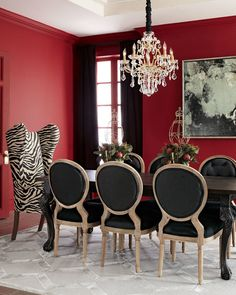 Haute House Tuscan Dining Table, Kayla Wingback Chair, & Black Linen Chairs, A symphony in black and white, this eclectic mix of Old World dining table with upholstered chairs makes dining an exotic adventure.