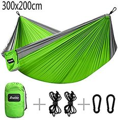 Double Camping Hammock Zealite Travel Lightweight Parachute Portable Hammock for Outdoor Hiking Backyard Green (300 x 200cm)
