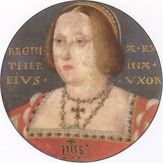 A portrait miniature of an aging Queen Catherine of Aragon, by Horenbout.