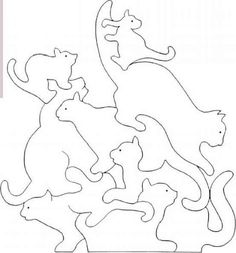 Cat Crafts, Diy And Crafts, Tier Puzzle, Scroll Saw Patterns Free, Animal Puzzle, Ideal Toys, Woodworking Patterns, Woodworking Desk, Woodworking Projects