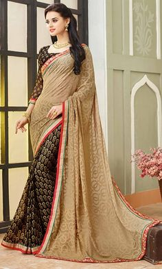 Buy Black and Beige Printed Saree at Discounted Prices - SAPVP15020