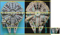 """LEGO 75105 Millennium Falcon vs. model photo illustration.  Not perfectly aligned but close enough for this visual comparison.  The two large orange circles on each side are the same size.  On the LEGO model, The """"mandibles"""" are certainly narrower and longer.  The position and size of the cockpit and corridor has been adjusted to accommodate the LEGO scale."""