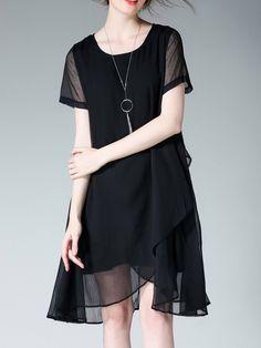 #AdoreWe #StyleWe Midi Dresses❤️Designer JIANRUYI Black Short Sleeve  Asymmetrical Chiffon Plus Size