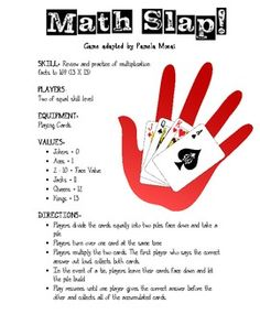 Math Slap Game (could do with x and / integers with black cards postive, red cards negative)