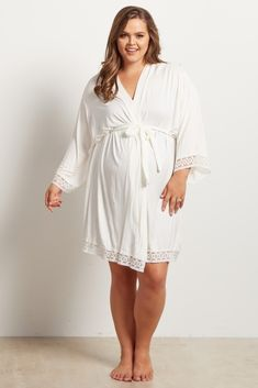 07fc385910 Ivory Lace Trim Plus Size Delivery Nursing Maternity Robe