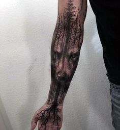 awesome Tattoo Trends - Wolf Tree Roots Mens Masculine Forearm Sleeve Tattoo... #tattoosmenschest