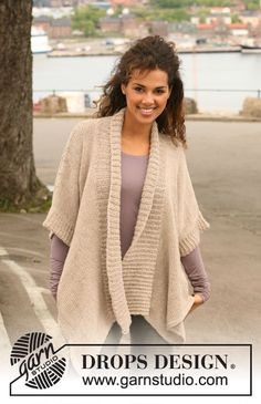 "Knitted DROPS wrap-round jacket in 2 strands ""Alpaca"". Size S - XXXL. ~ DROPS Design  My mom would love this!"