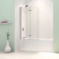 DreamLine Aqua Fold 36 in. x 58 in. Frameless Hinged Tub Door in - The Home Depot Bathtub With Glass Door, Bathtub Doors, Bathtub Shower, Glass Shower Doors, Bath Tub, Dreamline Shower, Shower Panels, Bath Remodel, Shower Remodel